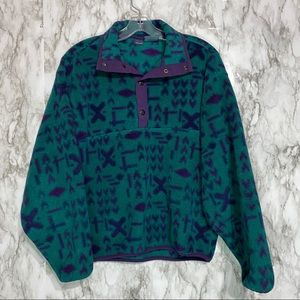 Woolrich Fleece Pullover Forest teal & purple